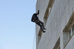 Politie speciale krachten in actie Stock Foto's