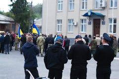 Politie voor protesten in de Oekraïense stad op 2 Oktober, 2017 royalty-vrije stock afbeelding