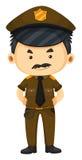 Politieagent in bruine eenvormig Stock Afbeelding