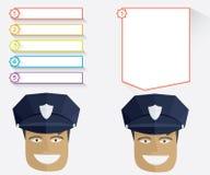 Politieagent en berichtraad Stock Fotografie