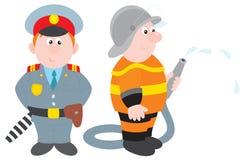 Politieagent en brandweerman Stock Foto
