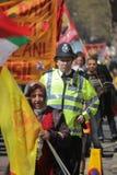 Politieagent en protesteerders Stock Fotografie
