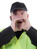 Politieagent het uitroepen Royalty-vrije Stock Foto