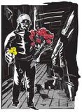 Politieagent met bloemen, zachte held op de straat Stock Afbeeldingen