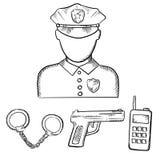 Politieagent met handcuffs en kanonschetsen Stock Afbeeldingen
