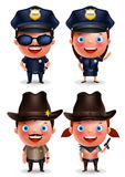 Politieagent, politieagente, sheriff en veedrijfster vectorset van tekens Stock Afbeelding