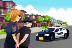 Politieagente die een Misdadiger arresteren royalty-vrije illustratie