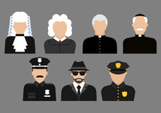 Politieagenten, rechters, priesters en detectiveavatars Stock Fotografie