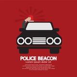 Politiebaken bij het Dak van de Auto Stock Afbeelding