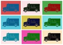 Politiebestelwagen, die pop-art trekken Royalty-vrije Stock Afbeeldingen