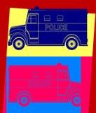 Politiebestelwagen, die pop-art trekken Royalty-vrije Stock Afbeelding