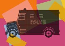 Politiebestelwagen, die pop-art trekken Stock Afbeelding