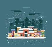 Politiebureau in de stad in de winter royalty-vrije illustratie