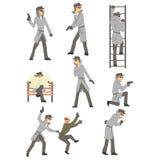 Politiedetective And Private Investigator aan Werk die en Misdadenreeks Situaties onderzoeken het oplossen vector illustratie
