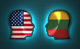 Politiek en economisch verband tussen de V.S. en Litouwen Stock Foto's