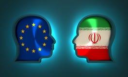 Politiek en economisch verband tussen Europese Unie en Iran Stock Fotografie