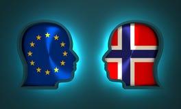 Politiek en economisch verband tussen Europese Unie en Noorwegen Royalty-vrije Stock Foto