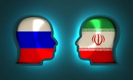 Politiek en economisch verband tussen Rusland en Iran Stock Foto's