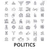 Politiek, politicus, stem, verkiezing, campagne, overheid, de pictogrammen van de politieke partijlijn Editableslagen Vlak Ontwer stock illustratie