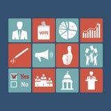 Politiek, Stemmings en verkiezingen pictogrammen - vectorpictogram Stock Fotografie