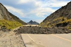 Politiek Wegblok van rots en puin in Bolivië royalty-vrije stock afbeeldingen