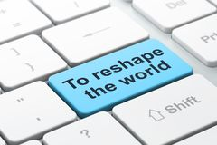 Politiekconcept: Om de wereld op de achtergrond van het computertoetsenbord een nieuwe vorm te geven Stock Afbeelding