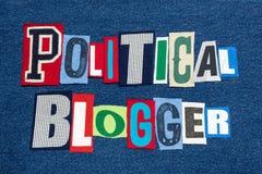 POLITIEKE BLOGGER-de collage kleurrijke stof van het tekstwoord bij blauw denim, politiek en overheid bloggen en het blogging royalty-vrije stock foto's