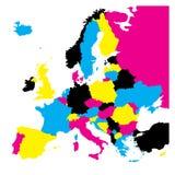 Politieke die kaart van het continent van Europa in CMYK-kleuren op witte achtergrond worden geïsoleerd Vector illustratie royalty-vrije illustratie