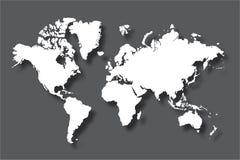 Politieke die wereldkaart met schaduw op grijze achtergrond, vectorillustratie wordt geïsoleerd Stock Foto