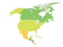 Politieke kaart Noord-Amerika Royalty-vrije Stock Afbeeldingen