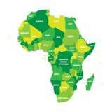 Politieke kaart van Afrika in vier schaduwen van groen met witte de naametiketten van het land op witte achtergrond Vector illust Royalty-vrije Stock Foto's