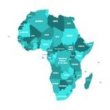Politieke kaart van Afrika in vier schaduwen van turkoois blauw met witte de naametiketten van het land op witte achtergrond Vect Royalty-vrije Stock Fotografie