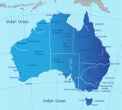 Politieke kaart van Australië Stock Afbeeldingen
