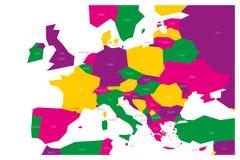 Politieke kaart van Centraal en Zuidelijk Europa Simlified schematische vectorkaart in kleurenschema vier vector illustratie