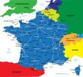 Politieke kaart van Frankrijk Stock Foto