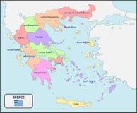 Politieke Kaart van Griekenland met Namen Stock Afbeeldingen