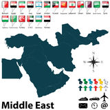 Politieke kaart van Midden-Oosten Royalty-vrije Stock Foto