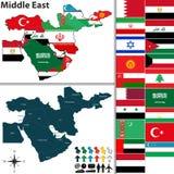 Politieke kaart van Midden-Oosten Stock Afbeeldingen
