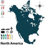 Politieke kaart van Noord-Amerika Stock Foto