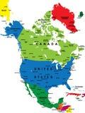 Politieke kaart van Noord-Amerika Stock Afbeeldingen
