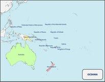Politieke Kaart van Oceanië met Namen Stock Foto