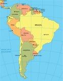 Politieke kaart van Zuid-Amerika stock illustratie