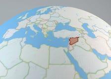 Politieke kaartbol van Europa, Midden-Oosten Syrië en Noord-Afrika Royalty-vrije Stock Foto