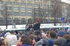 Politieke vergadering specifiek om Boris Nemtsov in Moskou moord royalty-vrije stock foto's
