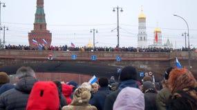 Politieke vergadering specifiek om Boris Nemtsov in Moskou moord stock foto