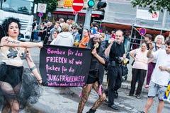 Politieke verklaring over Christopher Street Day 2014 in Stuttgart, Duitsland Stock Afbeeldingen