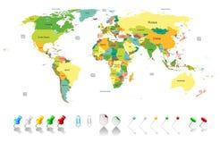 Politieke wereldkaart stock illustratie
