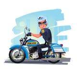 Politieman berijdende motorfiets met stad op achtergrond charac royalty-vrije illustratie