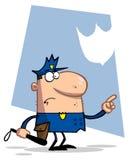 Politieman die en een club richt houdt Royalty-vrije Stock Foto