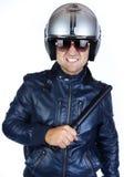 Politieman in eenvormig met zijn nachtstok Royalty-vrije Stock Foto